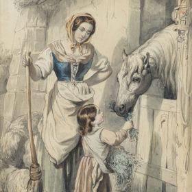 А.Е. Боратынская, дочь поэта. Сцена из итальянской жизни. Акварель. 1844 (?)