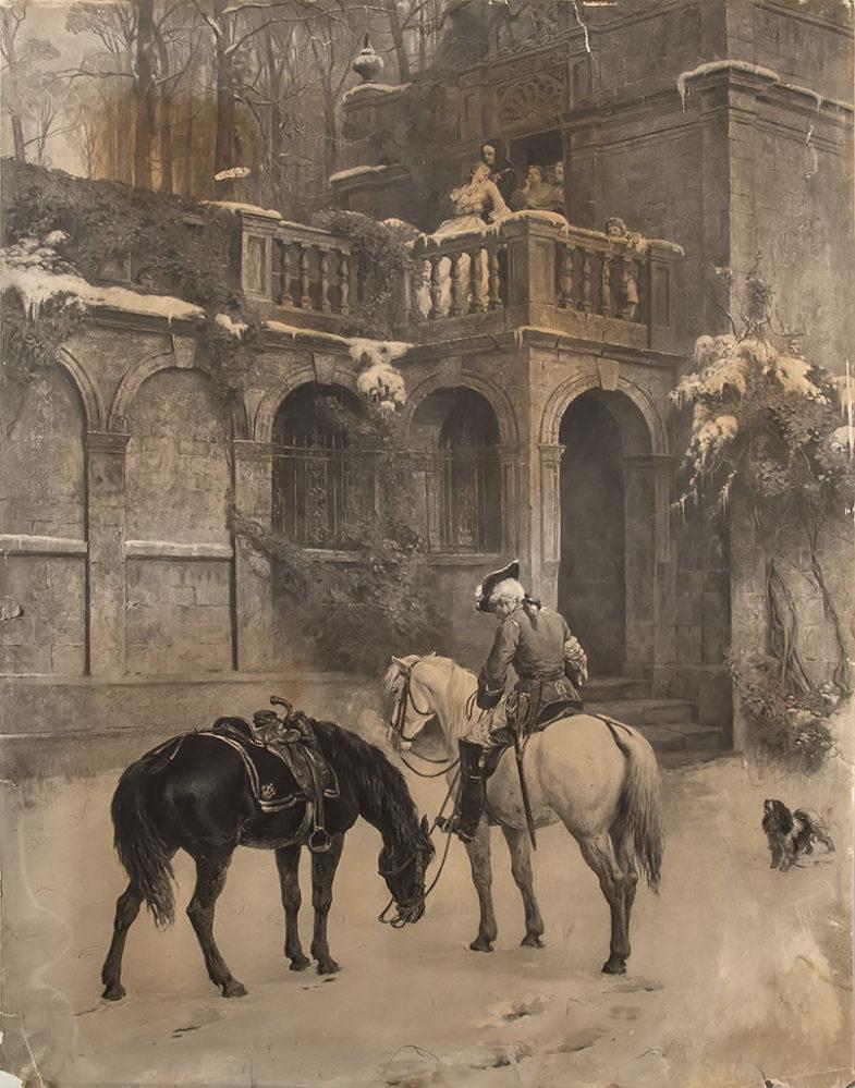 Литография неизвестного художника с картины С.Э. Уоллера «Пустое седло». 1879 – 1893 гг.