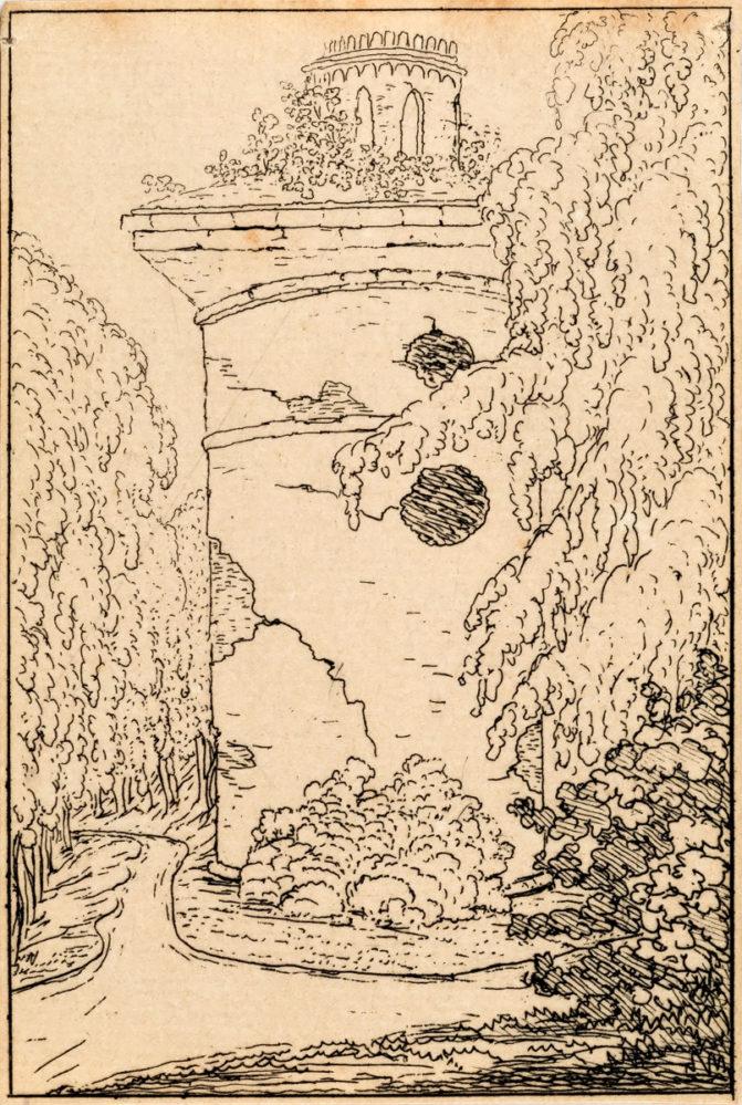 В.А. Жуковский. Башня-руина. Офорт из серии «Виды Царского Села». 1822-1823