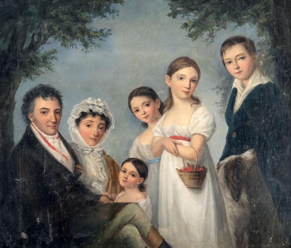 Портрет семейства Энгельгардт А.Е. Боратынская с картины К.Барду. Холст, масло. 1850-е