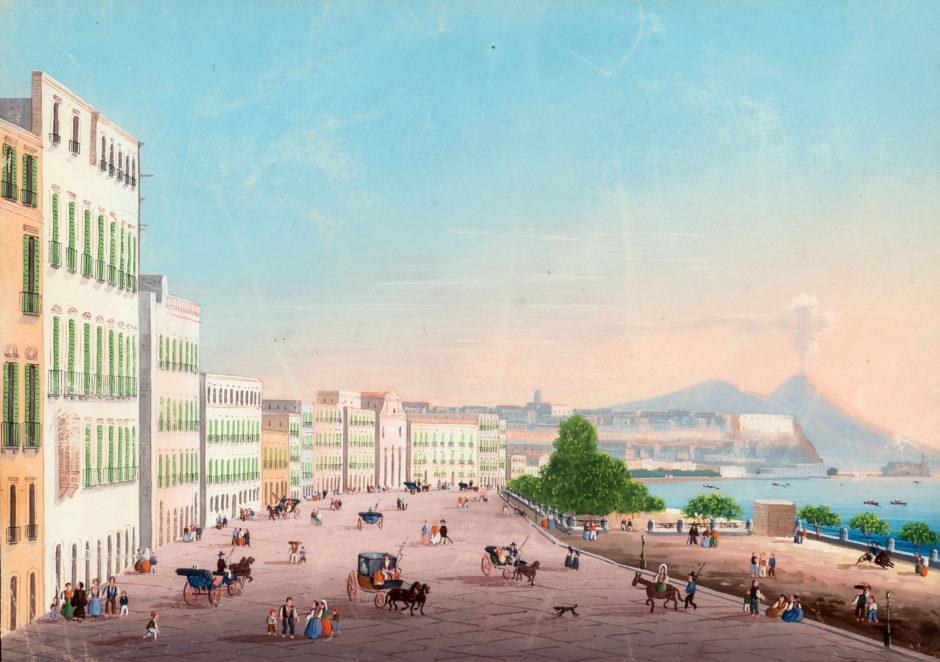Riviera di Chiaia (Ривьера ди Кьяйя). Неизвестный художник. Неаполь. Акварель, гуашь. 1840-е