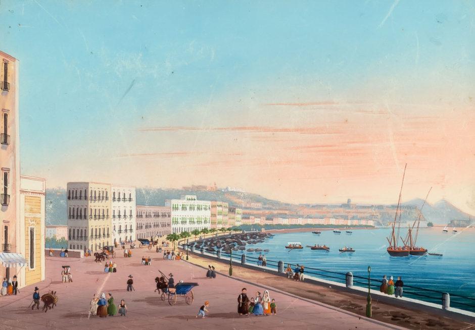 Napoli da Posillipo (Наполи да Позиллипо). Неизвестный художник. Неаполь. Акварель, гуашь. 1840-е