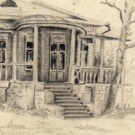 Дом в Шушарах. Рисунок О.А. Алексеевой, правнучки Е.А.Боратынского. 1926