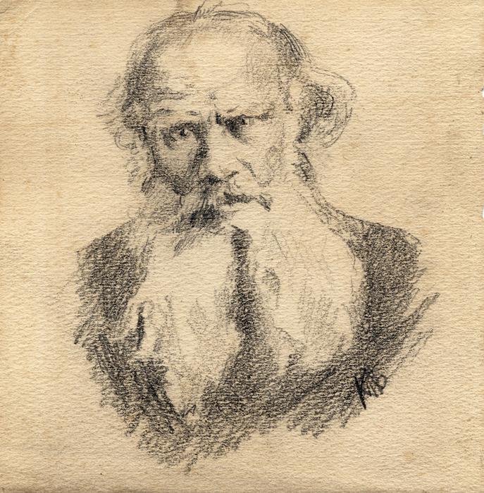 К.Н. Боратынская. Портрет Л.Н. Толстого. 1907. Бумага, карандаш