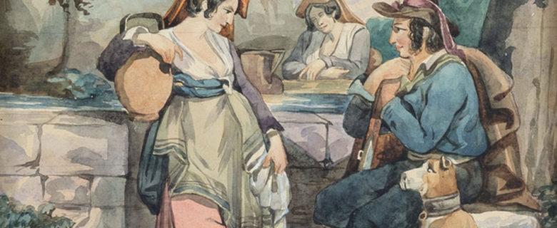 А.Е. Боратынская. Сцены итальянской жизни («Сцена у колодца»). Неаполь, не ранее 1844. Бумага, акварель