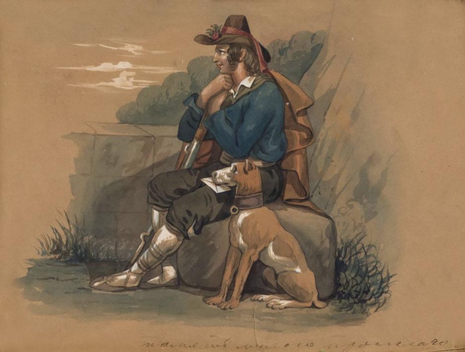 А.Е. Боратынская. Сцены итальянской жизни («Охотник»). Неаполь, не ранее 1844. Бумага, акварель