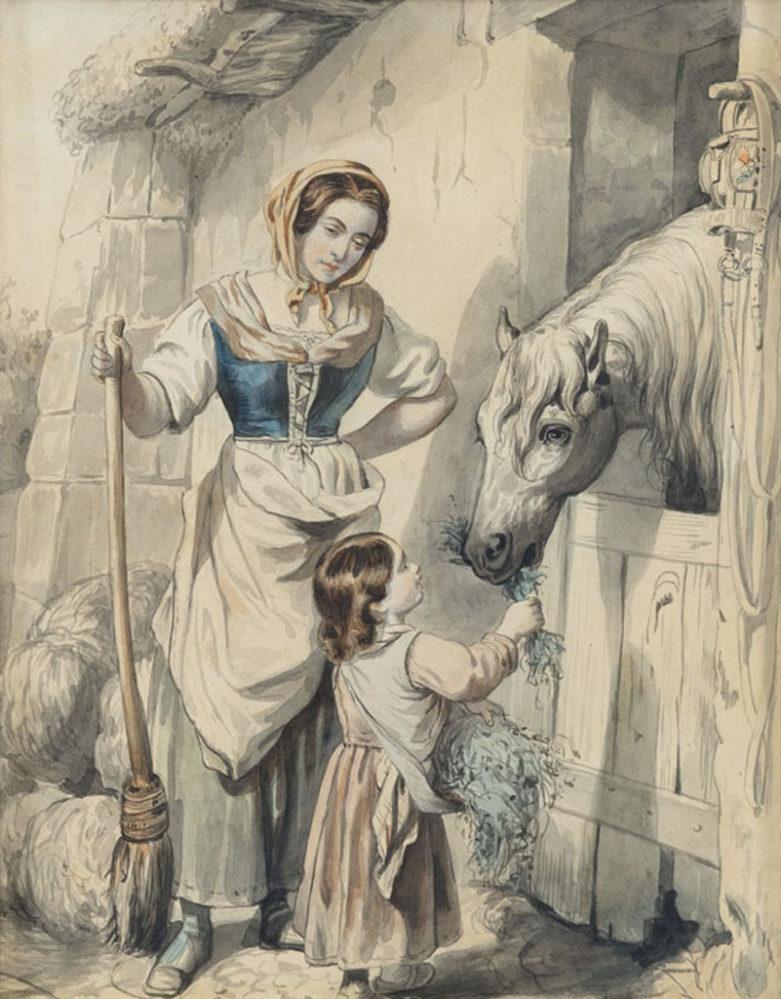 А.Е. Боратынская. Сцены итальянской жизни («Мать и дитя»). Неаполь, не ранее 1844. Бумага, акварель