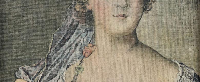Портрет французской принцессы (Софии Французской). С оригинала  Ж.-М.  Натье. Франция. Не позднее 1844. Цветная печать по холсту